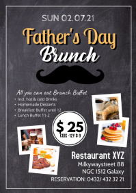 Father's Day Brunch Buffet all you can eat A4 template