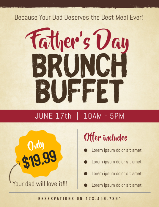 father s day brunch buffet flyer template postermywall