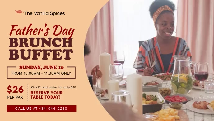 Father's Day Buffet Advertisement Banner Facebook Cover Video (16:9) template