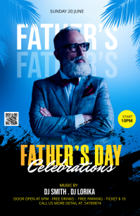 Father's Day Celebration Template Half Page Wide