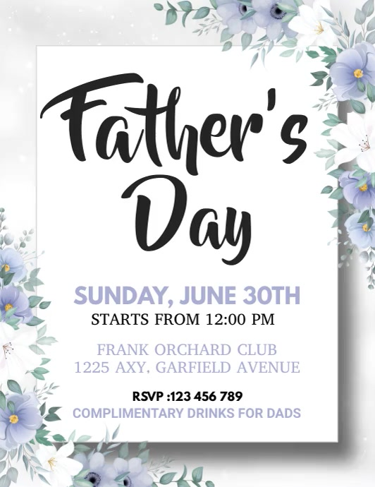 Father's Day Flyer, Happy Father's Day Folder (US Letter) template