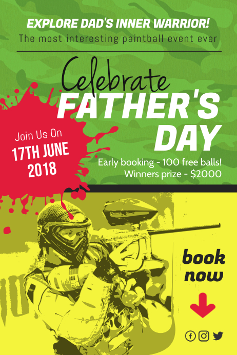 Father's Day Paint Ball Event Poster Template