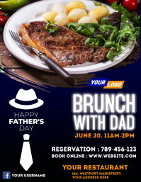 Father's day restaurant flyer template