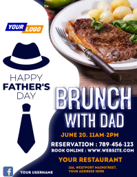 Father's day restaurant flyer Folheto (US Letter) template