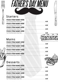 Father's Day Restaurant Menu Template