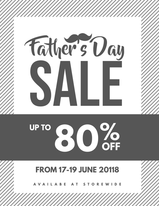 Fathers Day Sale Coupon Discount Poster Flyer Template Postermywall
