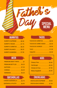 Father's Day Special Menu Design Half Page Wide template