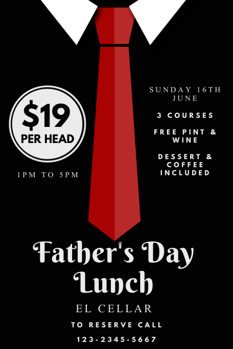 Father's Day Special Restaurant Deal Template