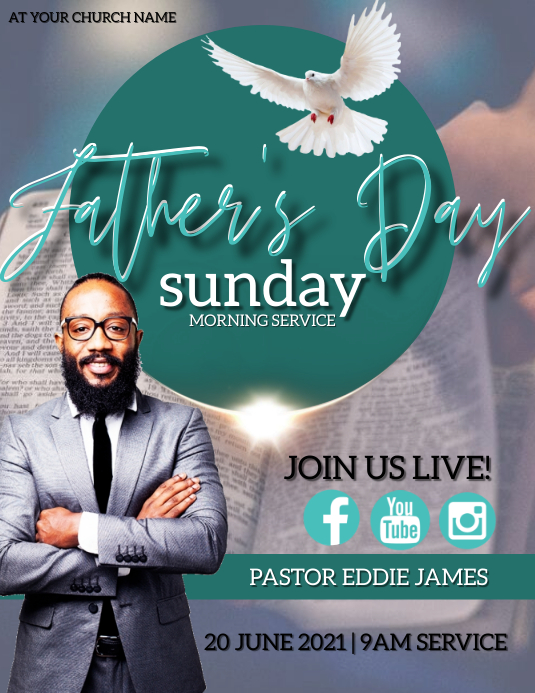 FATHER'S DAY Sunday Church Event Template Flyer (Letter pang-US)