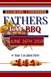Fathers day BBQ Poster template