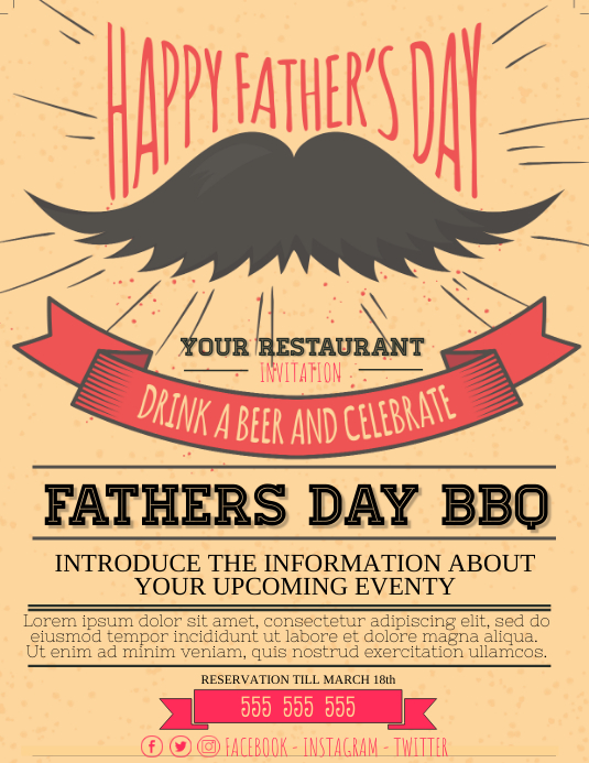 Fathers Day BBQ Event Party Poster Flyer