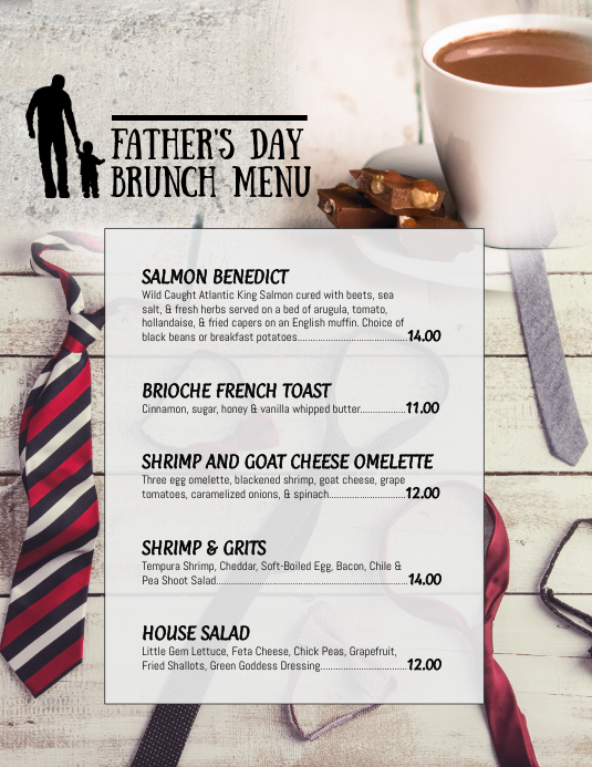Fathers Day Brunch Menu Specials Flyer
