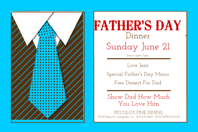 Father's Day Dinner Plakat template