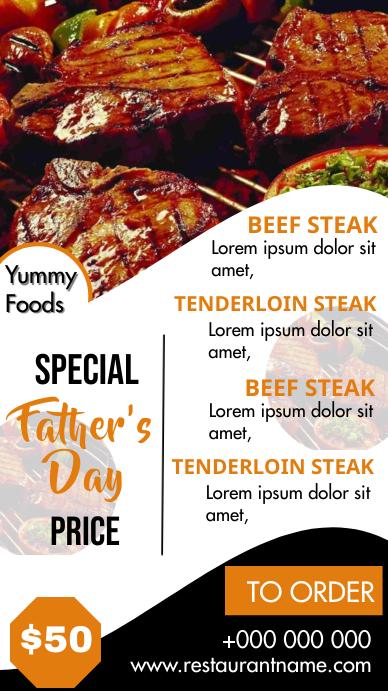 Fathers day Menu Digital Display (9:16) template