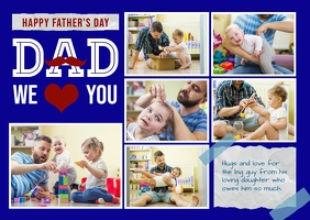 fathers day photo collage Postcard template