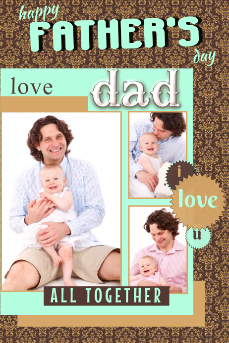 Fathers Day Photo Collage Template Plakat