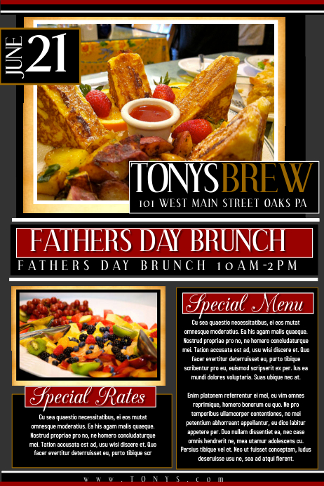 Fathers Day Brunch Póster template