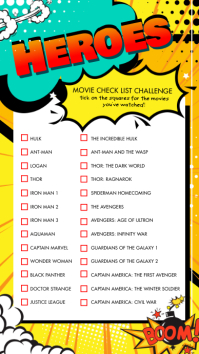 Favorite Super Heroes Checklist Instagram Sto template