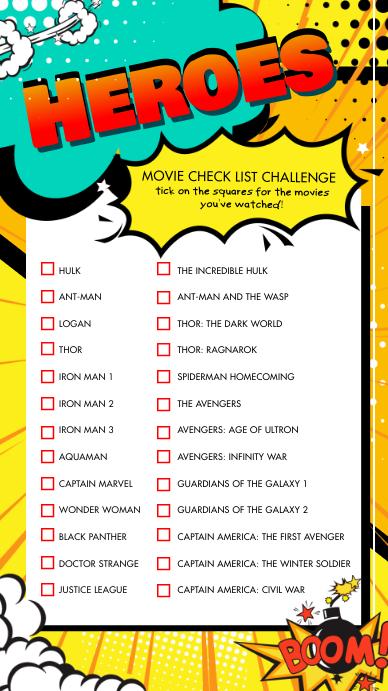 Favorite Super Heroes Checklist Instagram Sto template