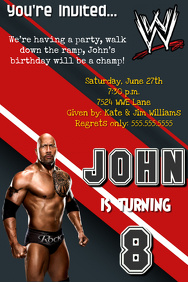 WWE THE ROCK BIRTHDAY PARTY INVITATION