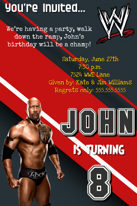 Wwe The Rock Birthday Party Invitation Template Postermywall