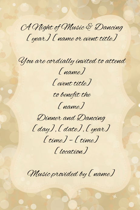 Fancy Gold Sparkle Invitation Announcement Flyer Poster template