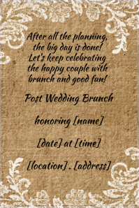 Linen Floral Wedding Brunch Invitation announcement poster flyer
