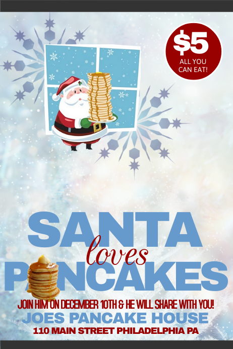 Pancakes with Santa Plakat template