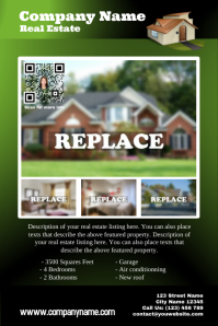 Featured property - Green real estate flyer with QR code