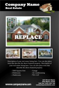 Featured property - Real estate flyer with QR code (Grey)