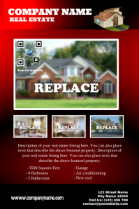 Featured property - Real estate flyer with QR code - Red Poster template