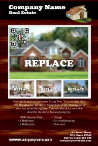 Real estate flyer - PosterMyWall : Great for featured property - Wood style with a QR code