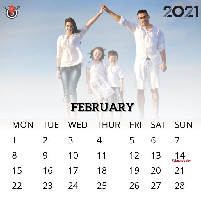 February 2021 calendar Instagram na Post template