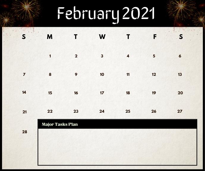 February 2021 Calendar Printable Template Medium Rectangle