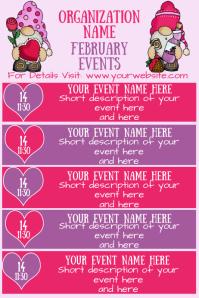 February Gnomes Events Calendar Плакат template
