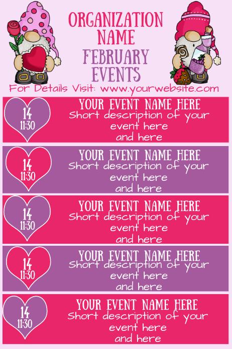 February Gnomes Events Calendar โปสเตอร์ template