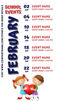 February School Events Schedule Template Digital Display (9:16)