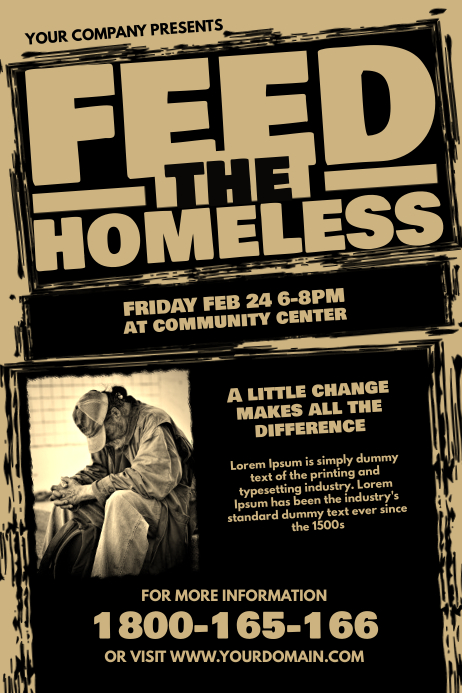 Feed The Homeless Fundraiser Template Poster