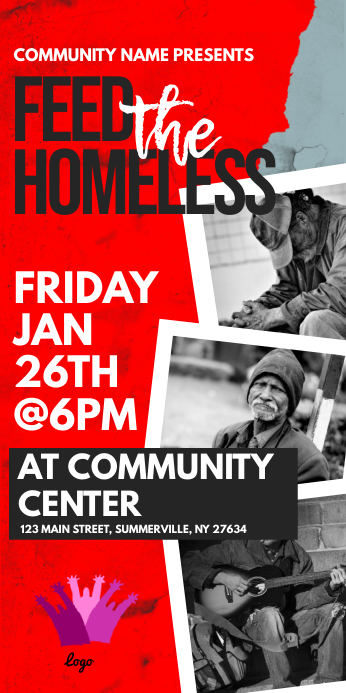 Feed The Homeless Roll Up Banner Cartel enrollable de 3 × 6 pulg. template