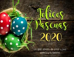 Felices Pascuas 2020 volante tarjeta Flyer (US-Letter) template