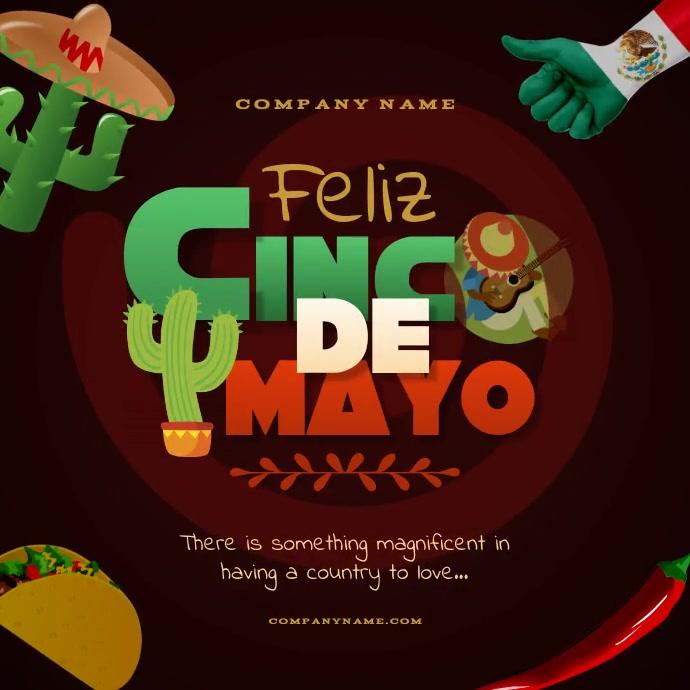 Feliz Cinco de Mayo Instagram Video Post Square (1:1) template