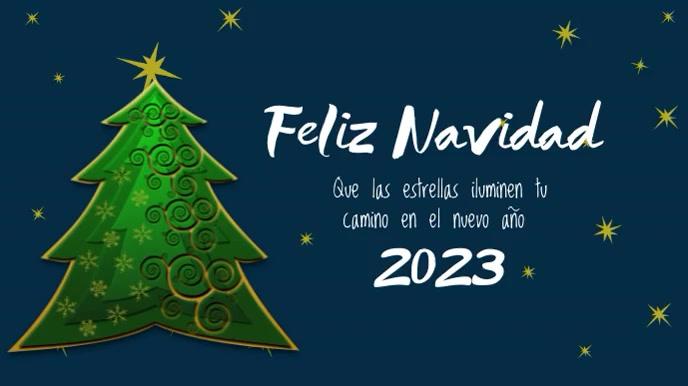 Feliz Navidad con Estrellas Animadas Digitalanzeige (16:9) template