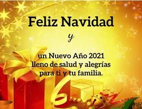 Feliz Navidad y Año Nuevo 2021 con video Pamflet (Letter AS) template