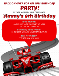 Ferrari Race Car Birthday invitation Template
