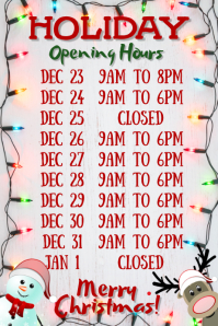 Festive Opening Hours Poster Template
