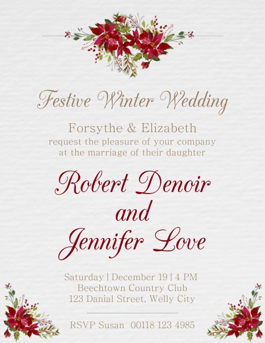 Festive winter wedding flyer template