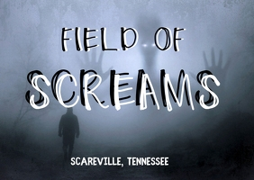 field of screams scary halloween flyer Открытка template