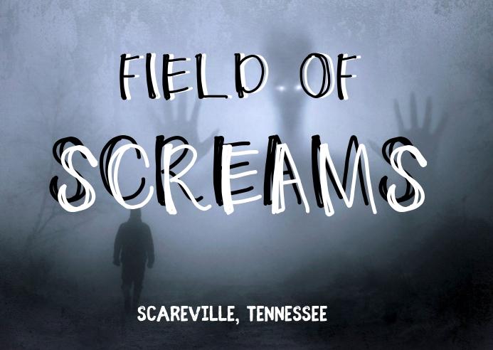 field of screams scary halloween flyer Kartu Pos template
