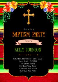 Fiesta baptism party invitation