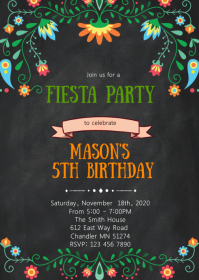 Fiesta birthday party invitation A6 template